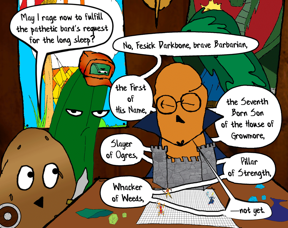 happimess-media-produce-high-webcomic-fruit-vegetable-high-school-07102-carrot-cucumber-potato-dnd-dungeons-and-dragons-roleplaying-game-rpg