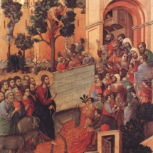 Duccio. Christ Entering Jerusalem, from the back of the Maestà Altarpiece. 1308-1311.
