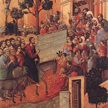 "Duccio. ""Christ Entering Jerusalem,"" from the back of the Maestà Altarpiece. 1308-1311"